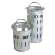 Yard gully bucket similar to DIN 1236 with rounded, drawn-up bottom for yard gully buckets